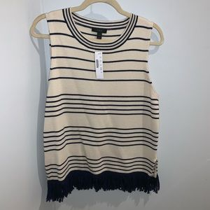 J. Crew NWT Fringed Boatneck Shell in Stripe